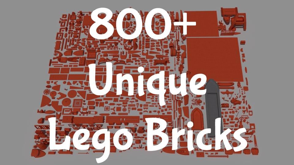 3D model 800 lego pieces