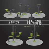 street fitness equipment 5objects 3D model