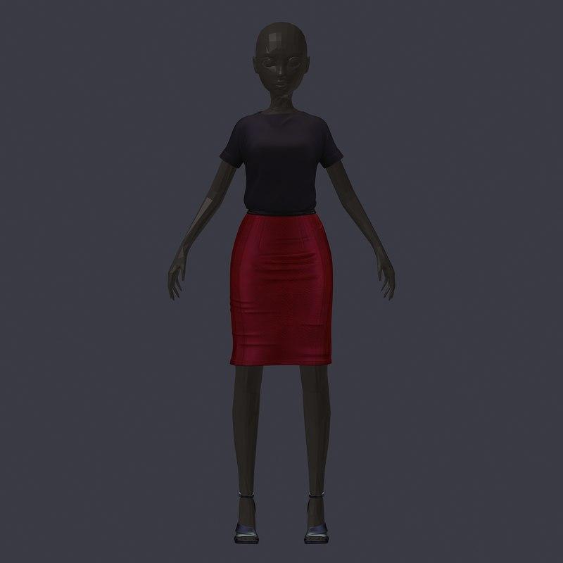 3D stylish avatar set black