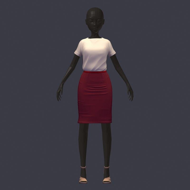 3D model stylish avatar base set