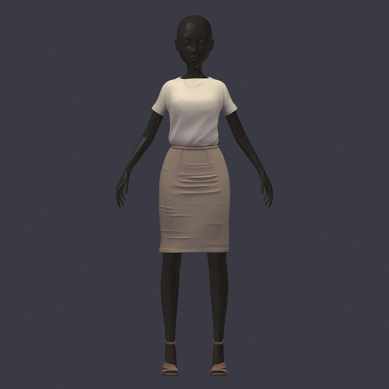 stylish avatar office girl 3D model
