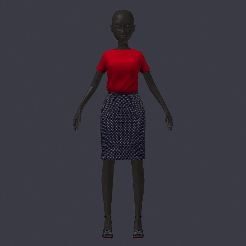 stylish avatar office girl 3D