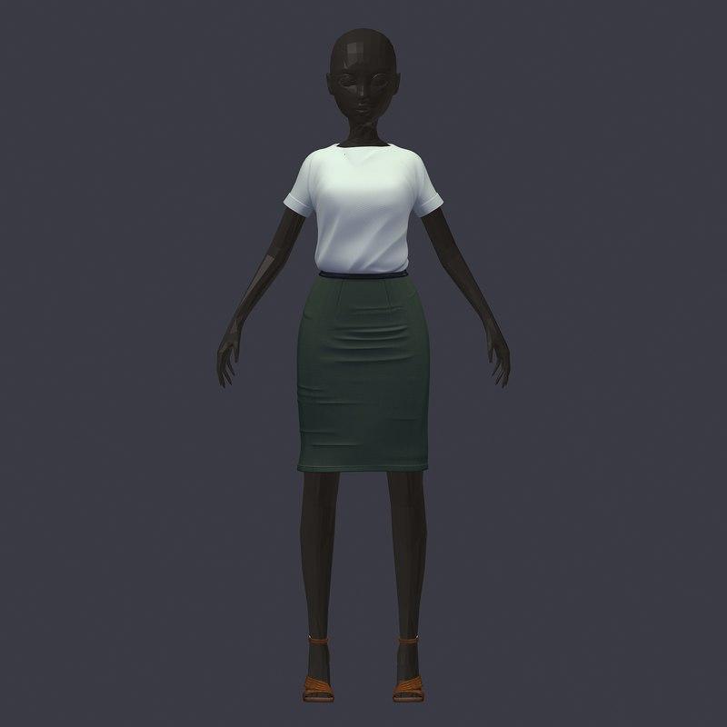 3D avatar base set white