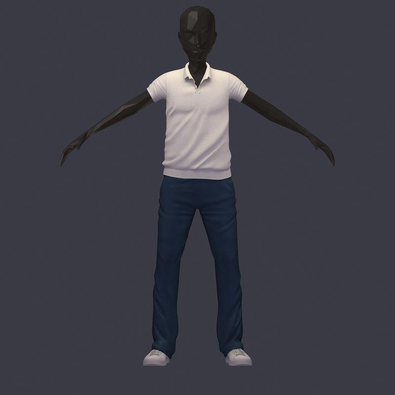 3D stylish subdivision avatar casual model