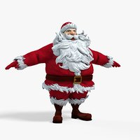 New cool Santa Claus with a big beautiful beard ready for your VR / AR / low-poly 3D model