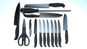 3D kitchen clutter set knife model