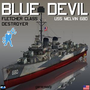 3D model devil uss melvin dd
