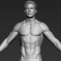 3D average caucasian man realistic model