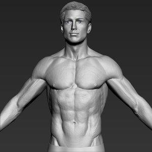3D average caucasian man realistic model