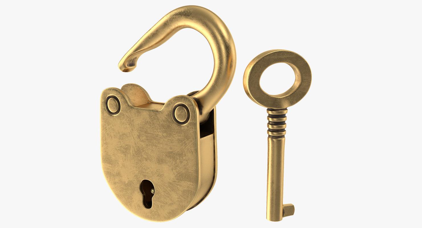 3D vintage brass padlock skeleton key
