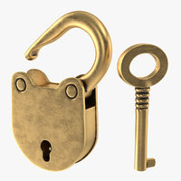 3D vintage brass padlock skeleton key