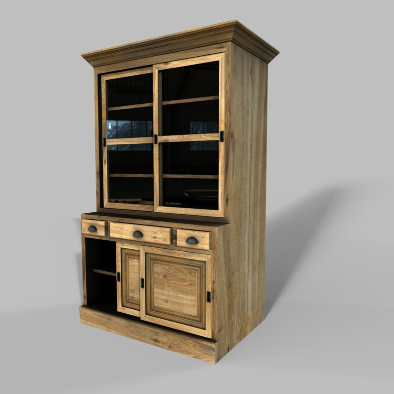 wooden cabinet 4 3D