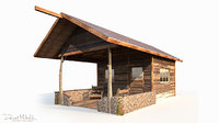 3D old wooden shanty