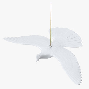 3D model turtle dove ornament 01
