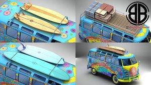 3D volkswagen samba 1963 hippie