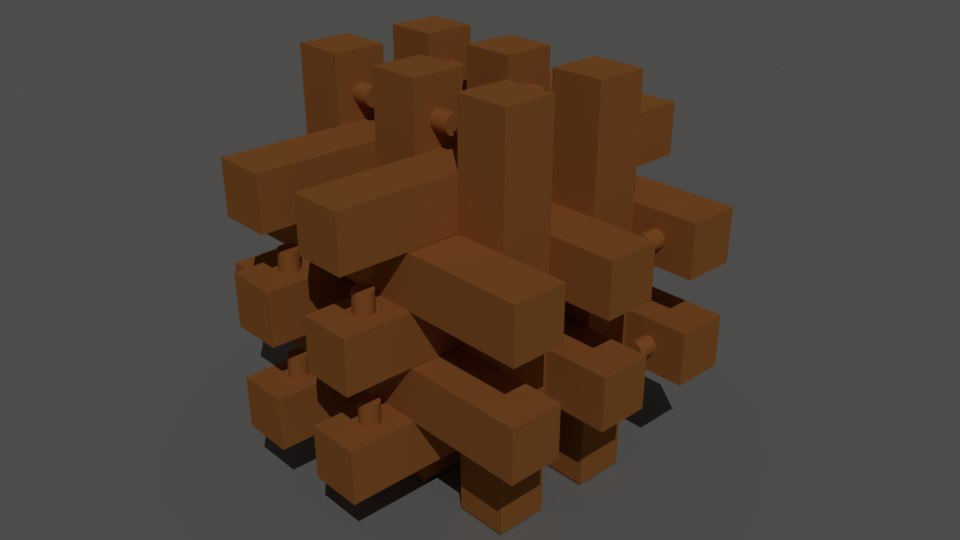 3D small wooden puzzle model