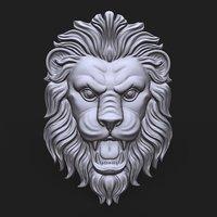 lion face bas relief 3D model