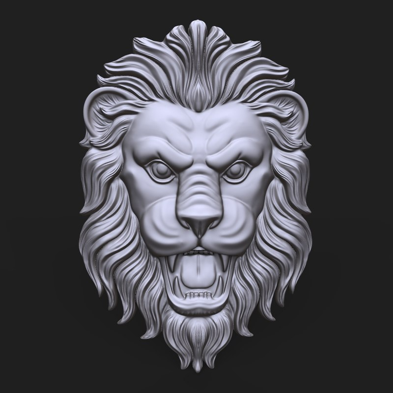 lion face bas relief 3D model