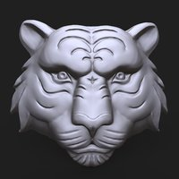 Tiger face bas relief
