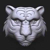 tiger face bas relief 3D