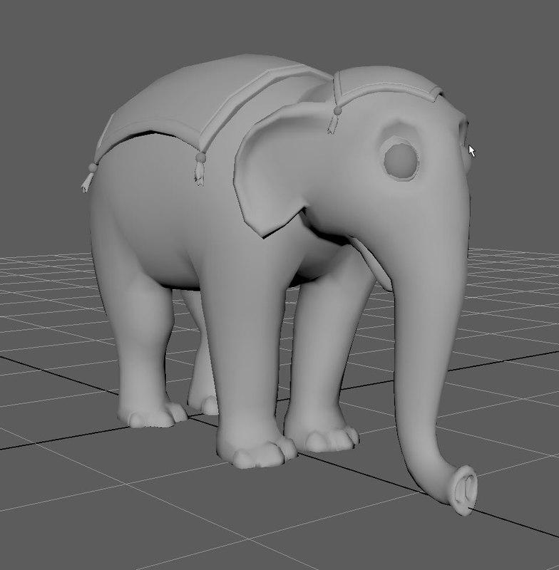 3D elephant animation circus model