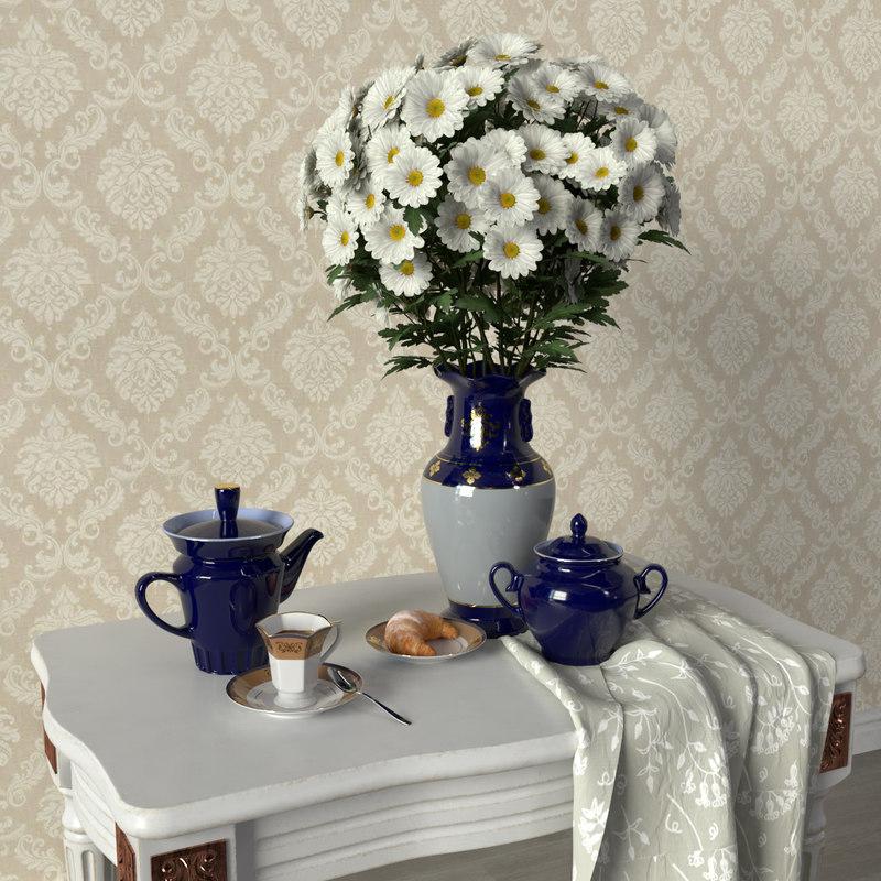 3D decorative set chrysanthemums