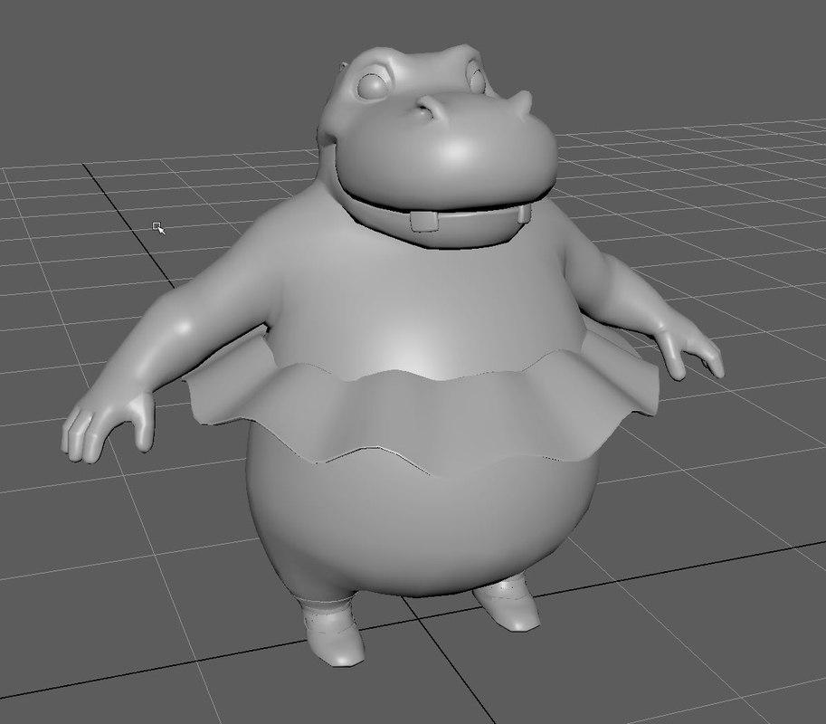 3D hippo dancer rope model