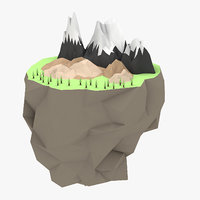 Low Poly Floating Big Island