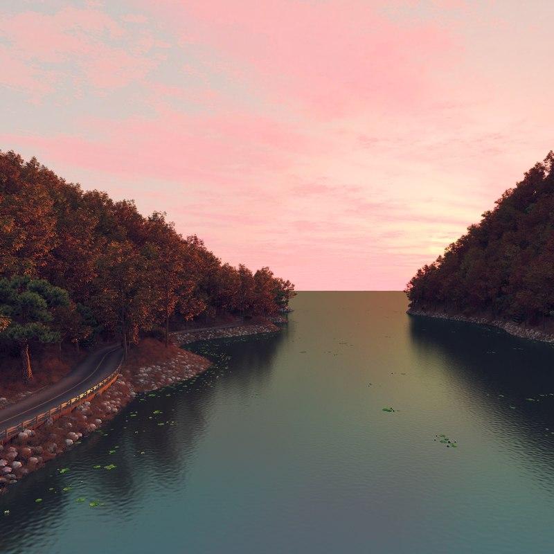 water landscape road sunset 3D
