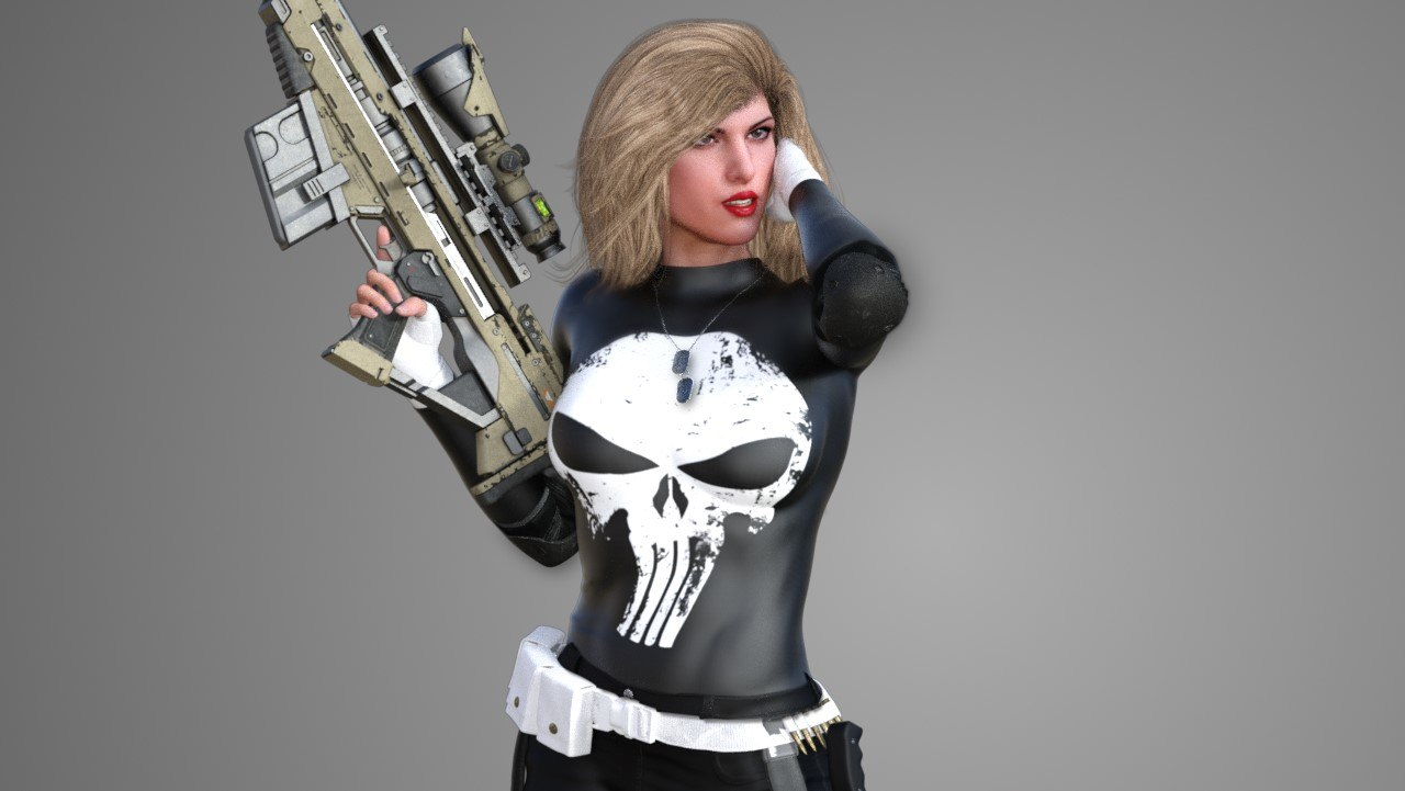 3D punisher lady
