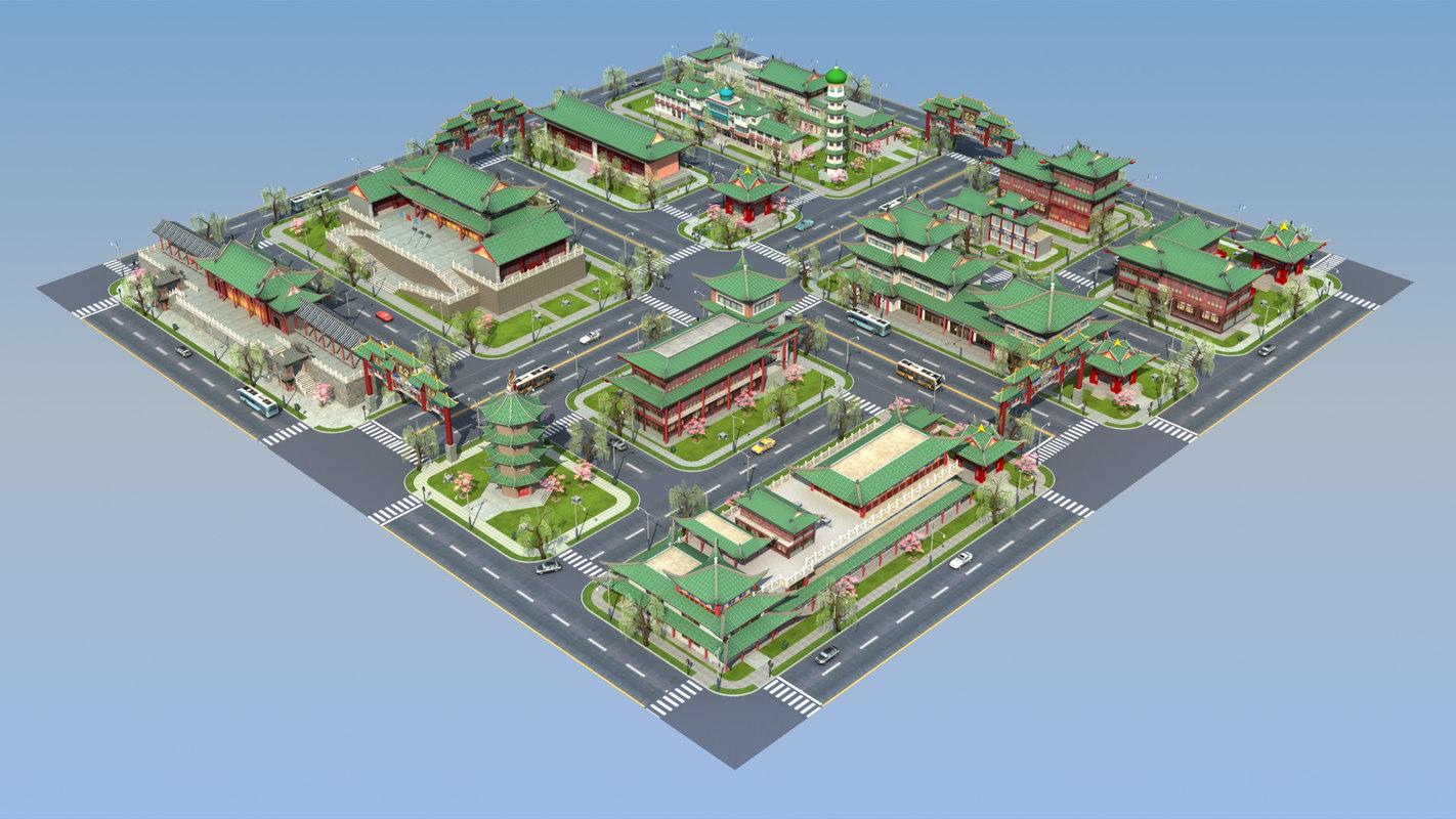 3D city town china blocks