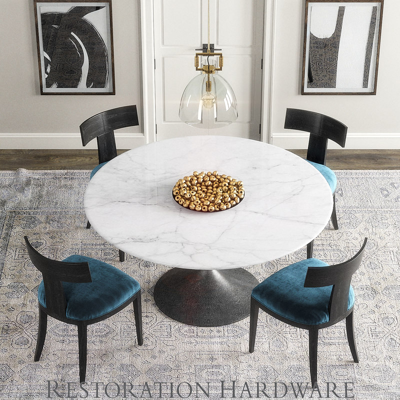 Klismos Aero Table D Model TurboSquid - Restoration hardware marble dining table