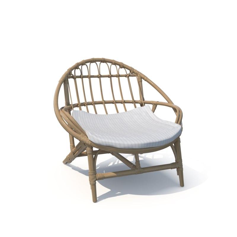 luling rattan chair 3D model