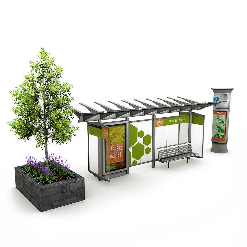 3D street elements birch tree