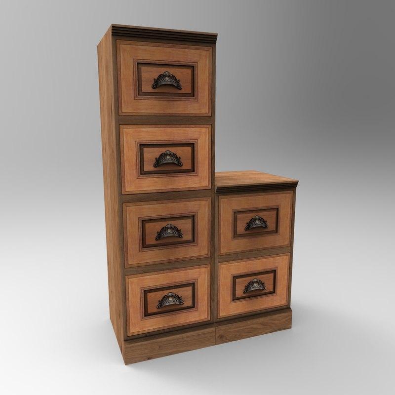 3D wooden cabinet 2 model