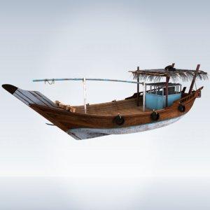 3D wooden dhow model
