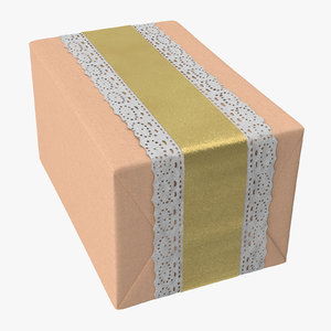 wrapped christmas gift 01 3D model