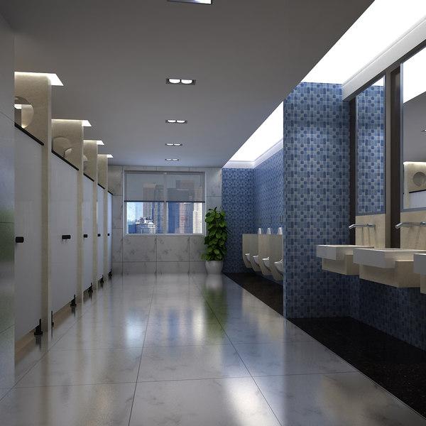 3D male toilet interior model