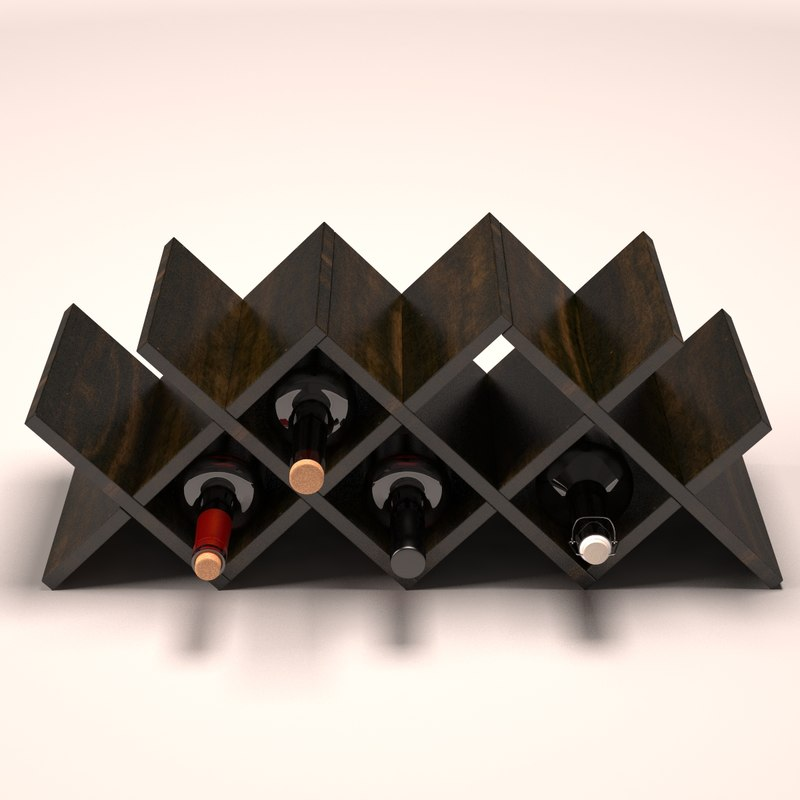 bottles wine rack 3D model