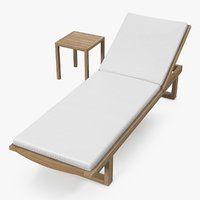Garden Wooden Sun Lounger with Table