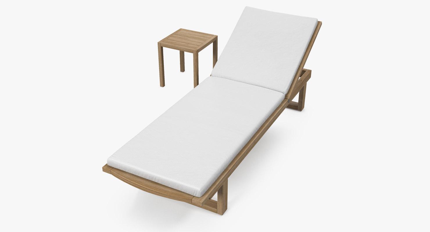 garden wooden sun lounger 3D model