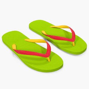 slim flip flops green 3D model