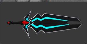3D blaster dark sword model