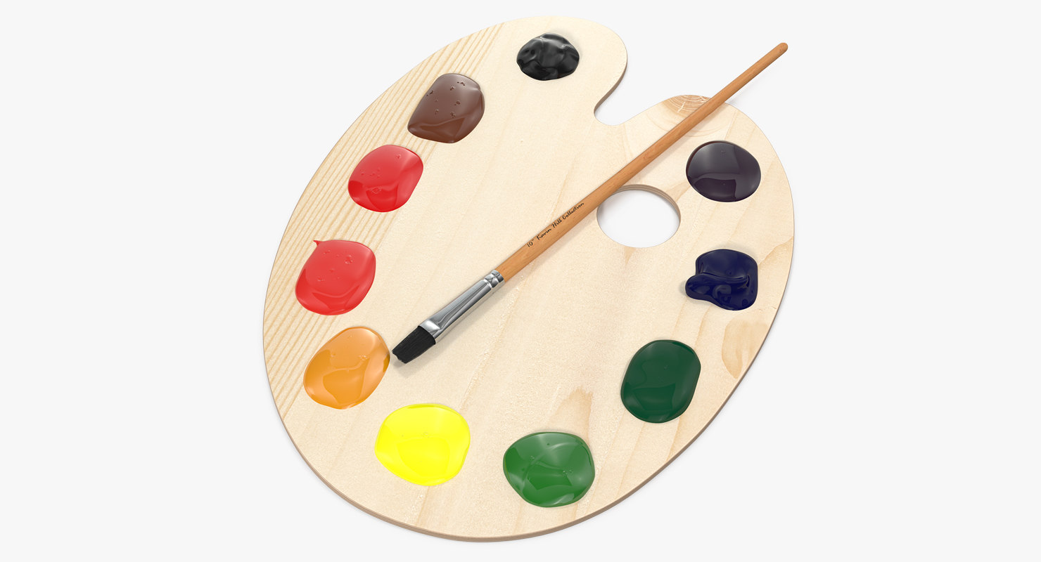 Wooden Art Palette With Paint And Brush