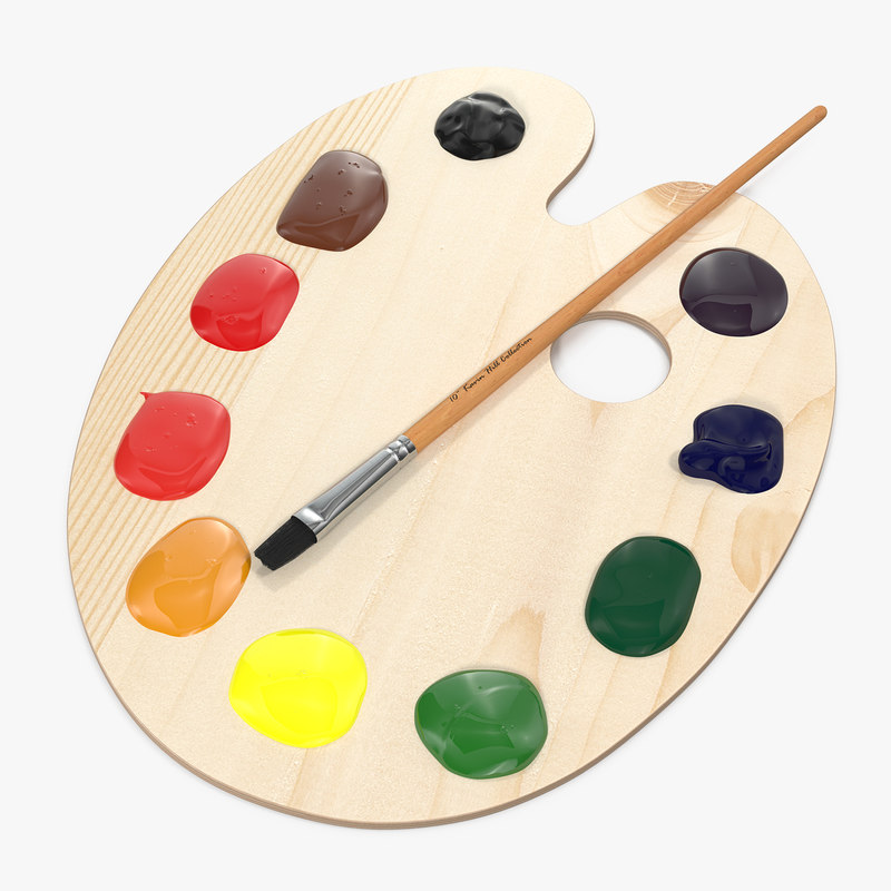 wooden art palette paint brush 3D model