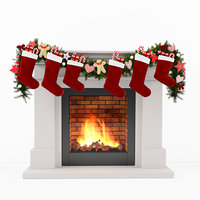 3D model christmas fireplace