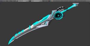 sword blue 3D model