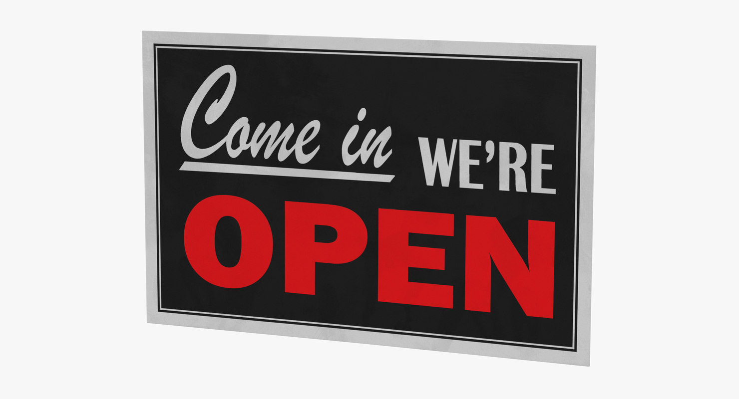 3D open-closed sign 02 model