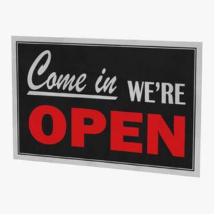 3D open-closed sign 02 model