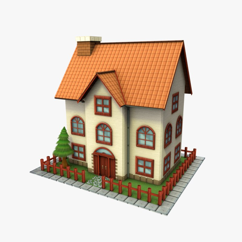 Cartoon House Low-poly 3D Model